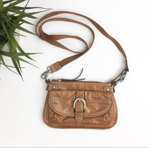 Fossil Brown Canvas & Leather Crossbody Purse